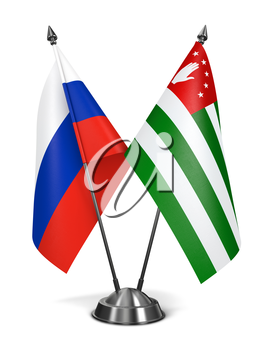 Russia and Abkhazia - Miniature Flags Isolated on White Background.