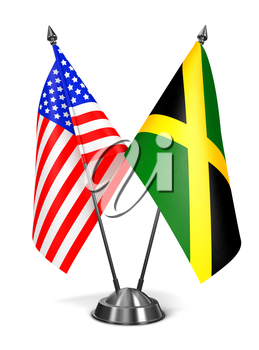 USA and Jamaica - Miniature Flags Isolated on White Background.