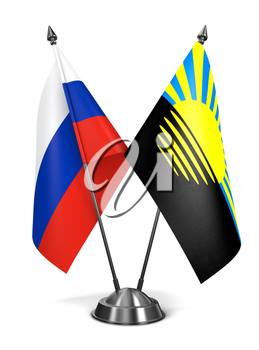 Russia and Donetsk - Miniature Flags Isolated on White Background.