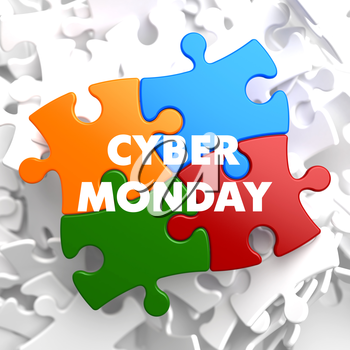 Cyber Monday on Multicolor Puzzle on White Background.