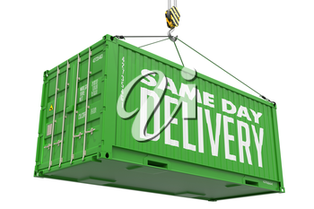 Same Day Delivery -Green Cargo Container hoisted by hook,Isolated on White Background.