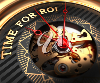 Time For ROI on Black-Golden Watch Face with Watch Mechanism. Full Frame Closeup.