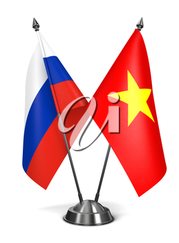 Russia and Vietnam - Miniature Flags Isolated on White Background.