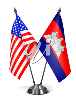 USA and Cambodia - Miniature Flags Isolated on White Background.