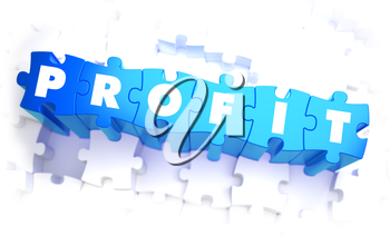 Profit - Word in Blue Color on Volume  Puzzle. 3D Illustration.