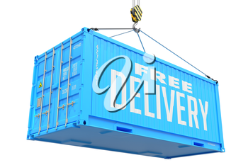 Free Delivery - Blue Cargo Container Hoisted by Hook, Isolated on White Background.