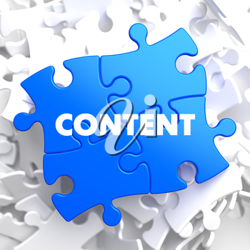 Content on Blue Puzzle on White Background.