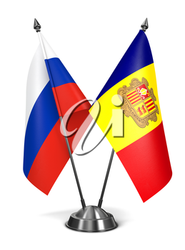 Russia and Andorra - Miniature Flags Isolated on White Background.