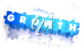 Growth - Word in Blue Color on Volume  Puzzle. 3D Illustration.