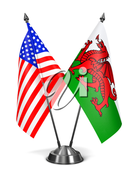 USA and Wales - Miniature Flags Isolated on White Background.