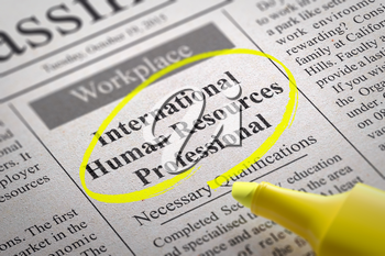 International Human Resources Professional Vacancy in Newspaper. Job Search Concept.