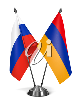 Russia and Armenia - Miniature Flags Isolated on White Background.