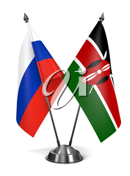 Russia and Kenya - Miniature Flags Isolated on White Background.