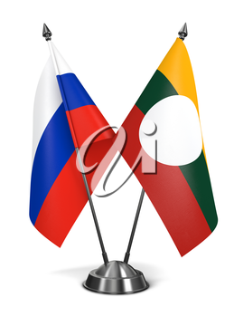 Russia and Shan State - Miniature Flags Isolated on White Background.