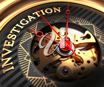 Investigation on Black-Golden Watch Face with Closeup View of Watch Mechanism.