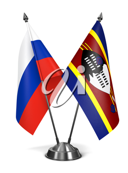 Russia and Swaziland - Miniature Flags Isolated on White Background.