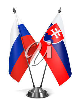 Royalty Free Clipart Image of the Russian and Slovakia Miniature Flags