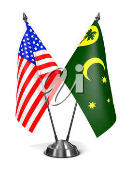 Royalty Free Clipart Image of USA and Cocos Keeling Islands Miniature Flags