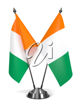 Royalty Free Clipart Image of Two Irish Miniature Flags