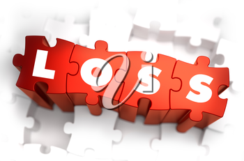 Royalty Free Clipart Image of Loss Text on Puzzle Pieces