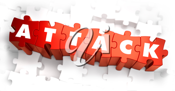 Royalty Free Clipart Image of Attack Text on Puzzle Pieces
