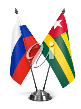 Royalty Free Clipart Image of Russia and Tongo Miniature Flags