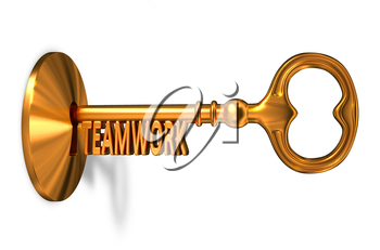 Royalty Free Clipart Image of a Teamwork Key