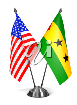 Royalty Free Clipart Image of USA, Sao Tome and Principe Miniature Flags