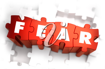 Royalty Free Clipart Image of Fear Text on Puzzle Pieces