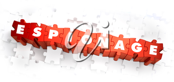 Royalty Free Clipart Image of Espionage Text on Puzzle Pieces