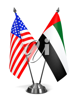 USA and United Arab Emirates - Miniature Flags Isolated on White Background.
