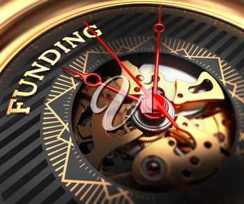Funding on Black-Golden Watch Face with Closeup View of Watch Mechanism.