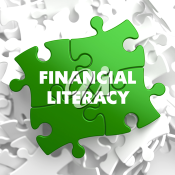 Financial Literacy on Green Puzzle on White Background.