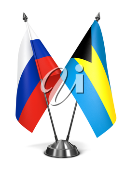 Russia and Bahamas - Miniature Flags Isolated on White Background.