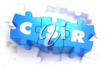 CRS - Word on Blue Puzzles on White Background. 3D Render.