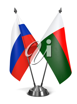 Russia and Madagascar - Miniature Flags Isolated on White Background.