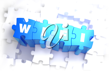WiFi - White Word on Blue Puzzles on White Background. 3D Illustration.