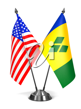 USA, Saint Vincent and Grenadines - Miniature Flags Isolated on White Background.