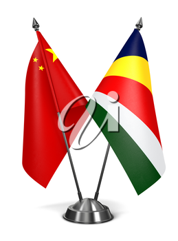 China and Seychelles - Miniature Flags Isolated on White Background.