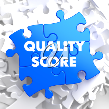 Quality Score on Blue Puzzle on White Background.