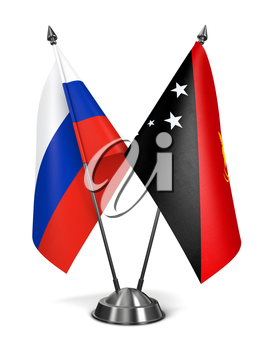 Russia and Papua New Guinea - Miniature Flags Isolated on White Background.