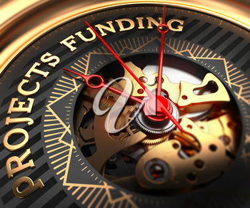 Projects Funding on Black-Golden Watch Face with Closeup View of Watch Mechanism.