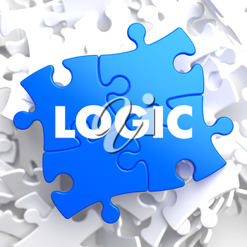 Logic on Blue Puzzle on White Background.
