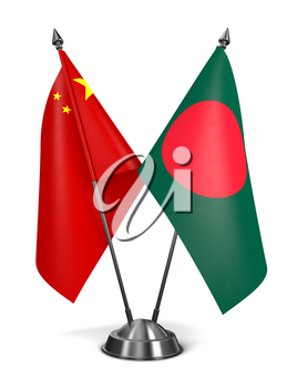 China and Bangladesh - Miniature Flags Isolated on White Background.