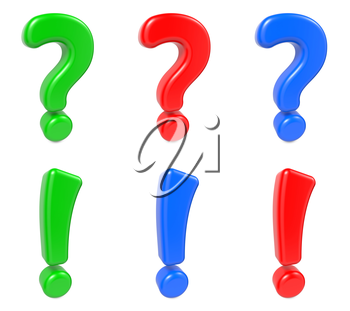 Set Exclamation  and Question Mark Green, Blue and Red Color. 3d concept.