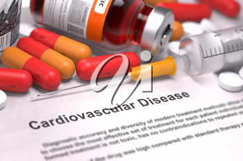 Cardiovascular Disease - Medical Concept with Red Pills, Injections and Syringe. Selective Focus. 3D Render.