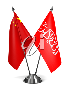 China and Waziristan - Miniature Flags Isolated on White Background.