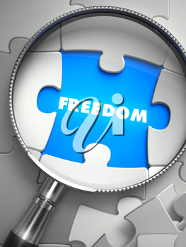 Freedom through Lens on Missing Puzzle Peace. Selective Focus. 3D Render.