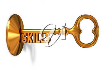 Skills - Golden Key is Inserted into the Keyhole Isolated on White Background