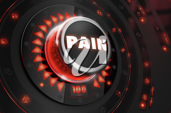 Pain Controller on Black Control Console with Red Backlight. Danger or Risk Control Concept.